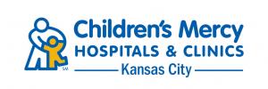children's mercy hospitals & clinics logo with a cartoon parent hugging their child